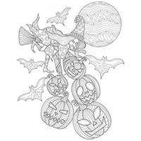 Witches and jack o'lantern hand drawn for adult coloring book vector