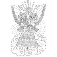 Angel playing the guitar hand drawn for adult coloring book vector