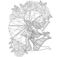 Angel and key of heart hand drawn for adult coloring book vector