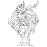 Halloween black cat hand drawn for adult coloring book vector