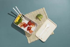 Top view composition food Japanese bento box photo