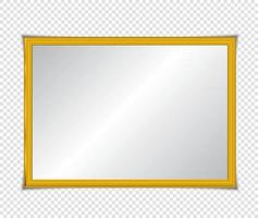 Gold shiny glowing frame with shadows isolated. Gold luxury vintage style realistic border, photo, banner. illustration - Vector