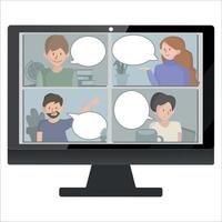 Video conference landing. People on computer screen taking with colleague. Videoconferencing and online meeting workspace vector page. concept e-learning and stay home.