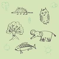 dibujo de contorno con erizo divertido, pez elefante búho. textura infantil creativa en estilo hecho a mano. ideal para tela, textil, papel de regalo, decoración, diseño en estilo infantil vector