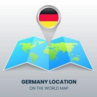 icono de ubicación de Alemania en el mapa mundial, icono de pin redondo de Alemania vector