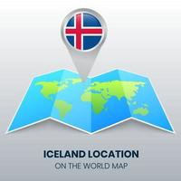 Location Icon Of Iceland On The World Map, Round Pin Icon Of Iceland vector