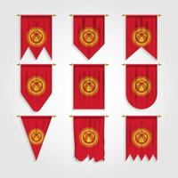 Kyrgyzstan Flag in Different shapes, Flag of Kyrgyzstan in Various Shapes vector