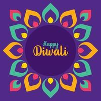 Happy Diwali with Indian Rangoli pattern. Indian festival of lights. vector