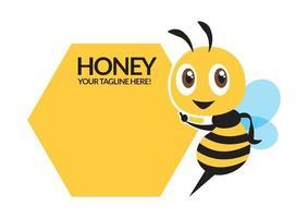 Flat design cartoon cute bee character, flat vector mascot, pointing signboard