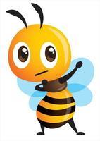 Cartoon cute Bee making dab arms gesture presenting popular internet meme pose vector