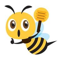 Flat design cute bee holding a honey dipper with thumb up hand sig vector