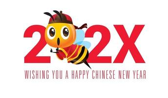 Cartoon cute bee with traditional chinese costume. The year of chinese zodiacs vector