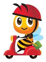 Cartoon cute bee deliver parcel by scooter vector