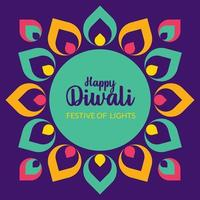 Happy Diwali with Indian Rangoli pattern. Indian festival of lights vector