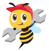 Flat design Cartoon cute bee wearing red safety cap and holding a spanner. Cute mascot hardworking bee vector