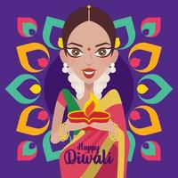 Happy Diwali. Beautiful Indian woman hands holding diya oil lamp, celebrating diwali with colourful Indian Rangoli background vector