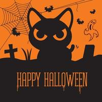 Happy Halloween. Horror black cat at grave with spider-web, flying bats and ghost vector
