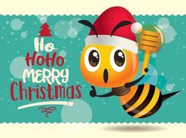 Merry Christmas. Cute bee holding honey dipper with big turquoise signboard. Merry Christmas lettering greeting card vector