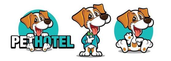 Cartoon cute dog mascot set wearing tuxedo holding big signboard and waving hand vector