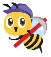 Cartoon cute bee wearing purple safety cap and holding a hoe tool. Cute mascot smiling bee vector