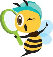 Flat design cartoon cute worker bee wearing blue safety cap and holding a magnifying glass vector