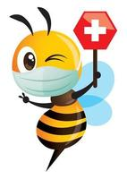 Cartoon cute bee wearing protective surgical mask and holding a medical cross on honey shape signage vector