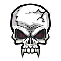 Cartoon horror cracked skull with red eyes and sharp teeth vector