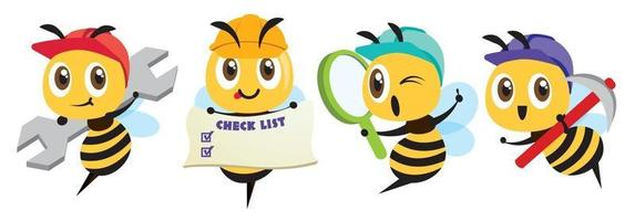 Cartoon cute bee labour worker mascot set. Cartoon cute bee holding a spanner, holding a signage, holding a magnifying glass, holding a hoe vector