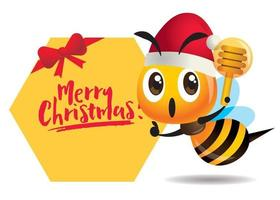 Merry Christmas. Cartoon cute bee one hand pointing to signboard with Merry Christmas lettering, one hand holding a honey dipper. vector