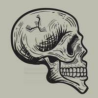 Happy halloween retro vintage style skull illustration vector