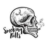 Smoking kills. Retro Smoking skull with ghost smoke coming out from cigarette vector