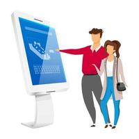 People and information kiosk flat color vector faceless characters. Couple standing near sensor self service panel isolated cartoon illustration on white background. Freestanding internet construction