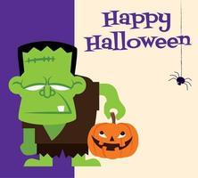 Happy Halloween. Cartoon monster character holding pumpkin with Halloween headline vector