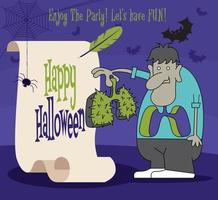 Happy Halloween. Cartoon monster character holding lungs with retro paper scroll vector