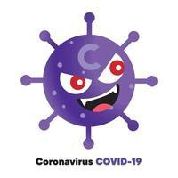 Coronavirus outbreak a global pandemic with Red eyes Covid-19 virus cartoon cute character vector