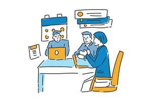 meeting business team illustration hand draw vector