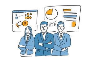 three businessmen illustration hand draw vector
