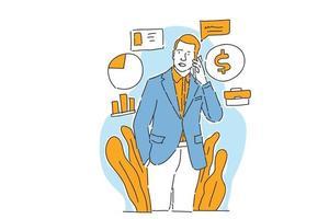 businessman talks business on the phone illustration hand draw vector