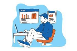 businessman worka at desk illustration hand draw vector