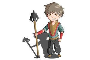 diseño de personajes un niño sosteniendo una lanza vector