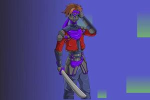 Character design robber bring knife vector