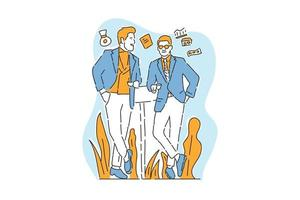 two business men talk business illustration hand draw vector