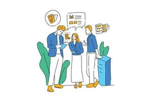 people discuss business illustration hand draw vector