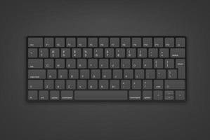 Black keyboard with english keys. Object isolated on white background vector