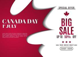 JULY 1st. Canada day background sales promotion advertising banner template design vector