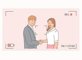 A businessman and a businesswoman are shaking hands in a photo frame. vector