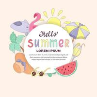 Hello summer banner template with lettering, tropical plant, cocktail, food, umbrella, watermelon,hat, plane, sun and sunglasses isolated on white background. Vector illustration on the theme of summer vacation