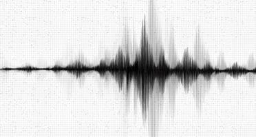 Onda de mini terremoto en blanco y negro con fondo de papel blanco de línea de vibración de círculo, concepto de diagrama de onda de audio, diseño para educación y ciencia, ilustración vectorial. vector