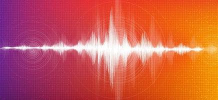 Onda de sonido digital sobre fondo colorido, concepto de diagrama de onda de terremoto y tecnología, diseño para estudio de música y ciencia, ilustración vectorial. vector