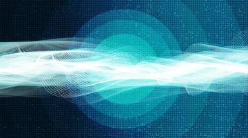 Onda de sonido digital futurista sobre fondo azul claro, concepto de diagrama de onda de terremoto y tecnología, diseño para estudio de música y ciencia, ilustración vectorial. vector
